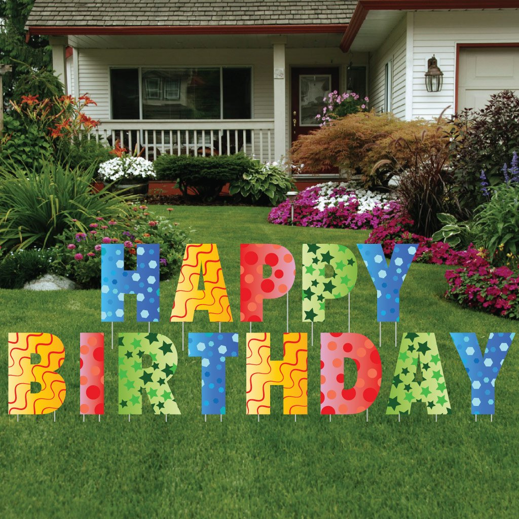 Amazon.com: Happy Birthday Letters Yard Card - 26 stakes: Health ...