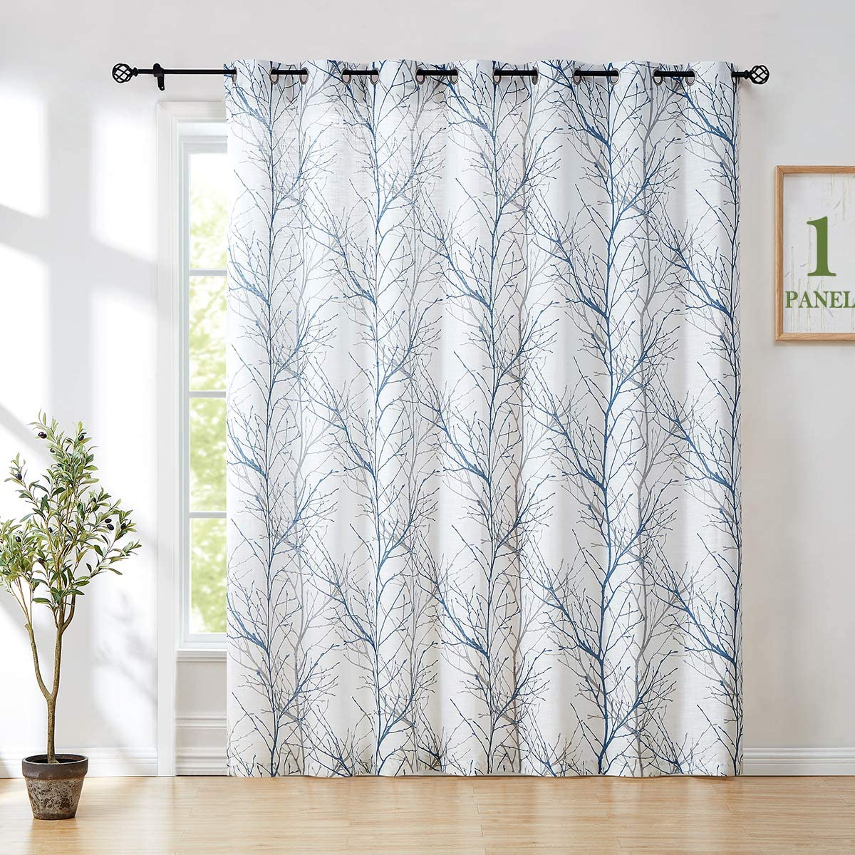 Amazon Com Fmfunctex White Blue Sliding Door Curtain 96 Inches Tree Branch Semi Sheer Patio Glass Door Panel For Large Windows Living Room Linen Texture Curtain Drapes For Privacy 100 W 8ft 1panel Home
