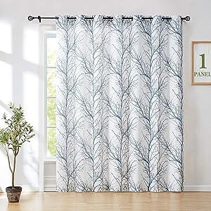 Fmfunctex Blue-White Sliding Door Curtain 84inch Branch Tree Print 100 inches Extra Wide Linen Semi Sheer White Grommet Curtain for Living Room Glass Door Patio Door 7ft 1 Panel