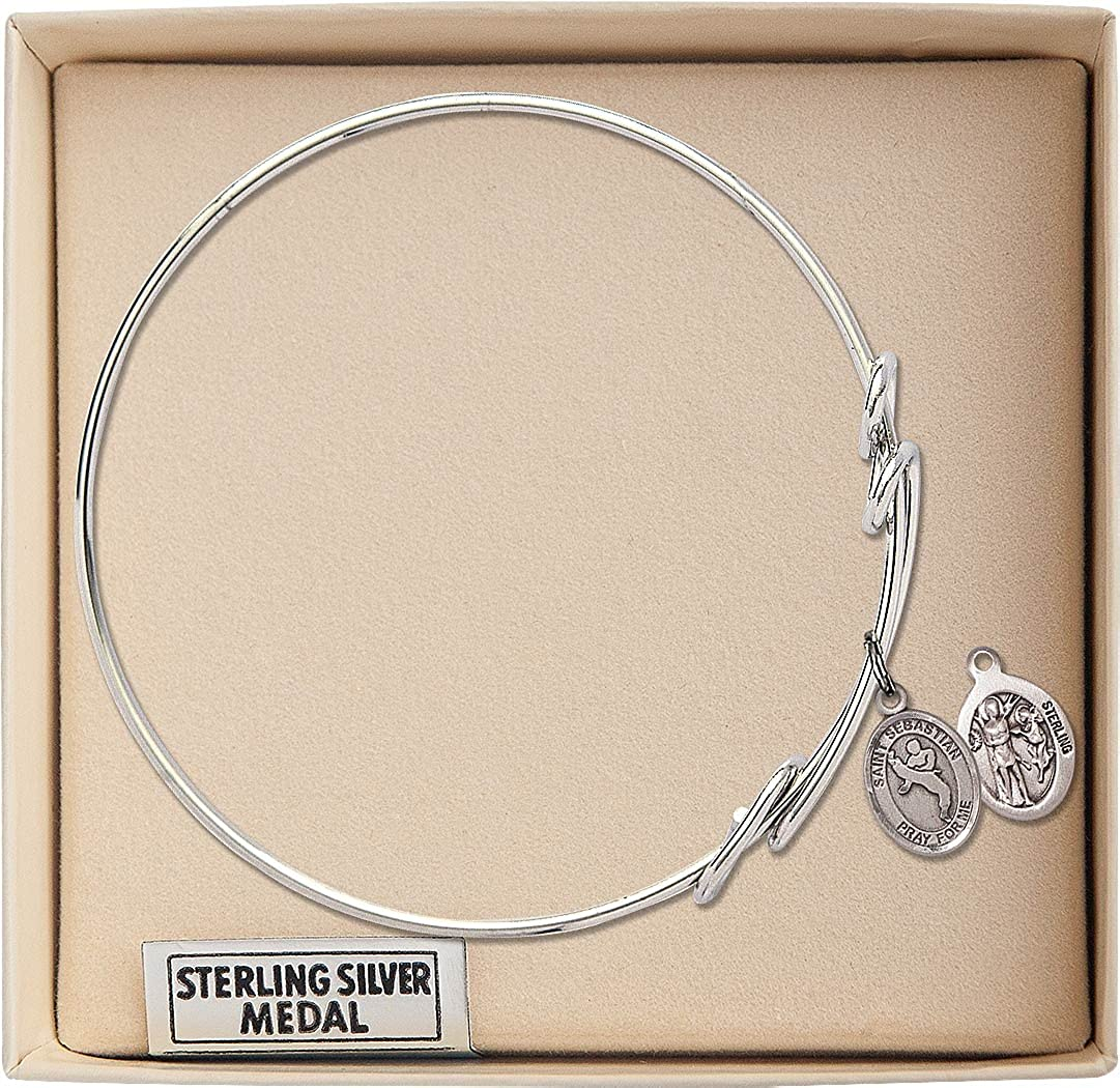 Sebastian//Martial Arts Charm. F A Dumont 8 1//2 inch Round Double Loop Bangle Bracelet with a St