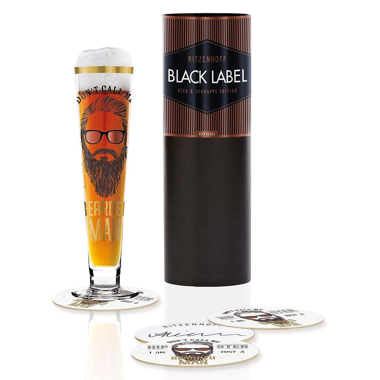 mit f/ünf Bierdeckeln RITZENHOFF Black Label Bierglas von Alice Wilson 300 ml aus Kristallglas