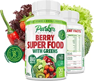 Berry Green Superfood Capsules 180 ct. with Organic Greens & Organic Fruits, Enzymes, Probiotics, Antioxidants, Vitamins, Minerals - Alkalize & Detox - Non GMO, Vegan & Gluten Free