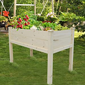Hand-Mart 4x2x2.7 Ft Raised Garden Bed Including 20 Wooden Plant Labels Elevated Planter Stand Grow Box with Legs Counter Height Garden Box for Backyard, Patio, Outdoor/Indoor, Natural