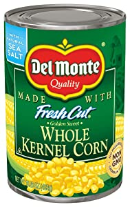 Del Monte Canned Fresh Cut Golden Sweet Whole Kernel Corn, 15.25-Ounce Cans (Pack of 12)