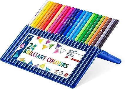 Staedtler Ergosoft 157 SB24. Lápices de color triangulares. Estuche con 24 unidades de colores variados: Amazon.es: Oficina y papelería