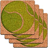 Tennis Ball Low Profile Cork Coaster Set