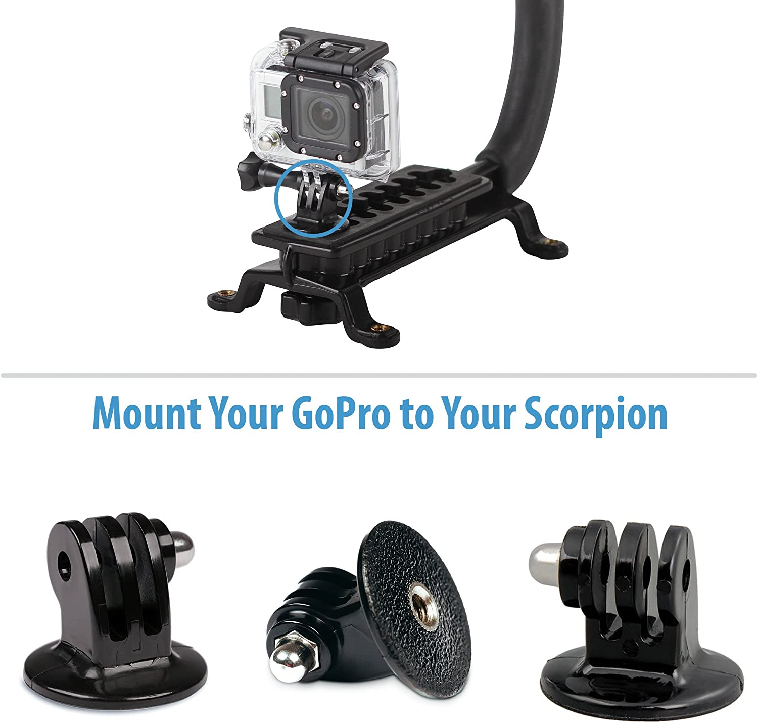 Cam Caddie Scorpion GoPro Hero Tripod Mount//Adapter for Standard 1//4-20 Threaded Screws and Posts for GoPro Hero 1//2// 3//3+// and 4