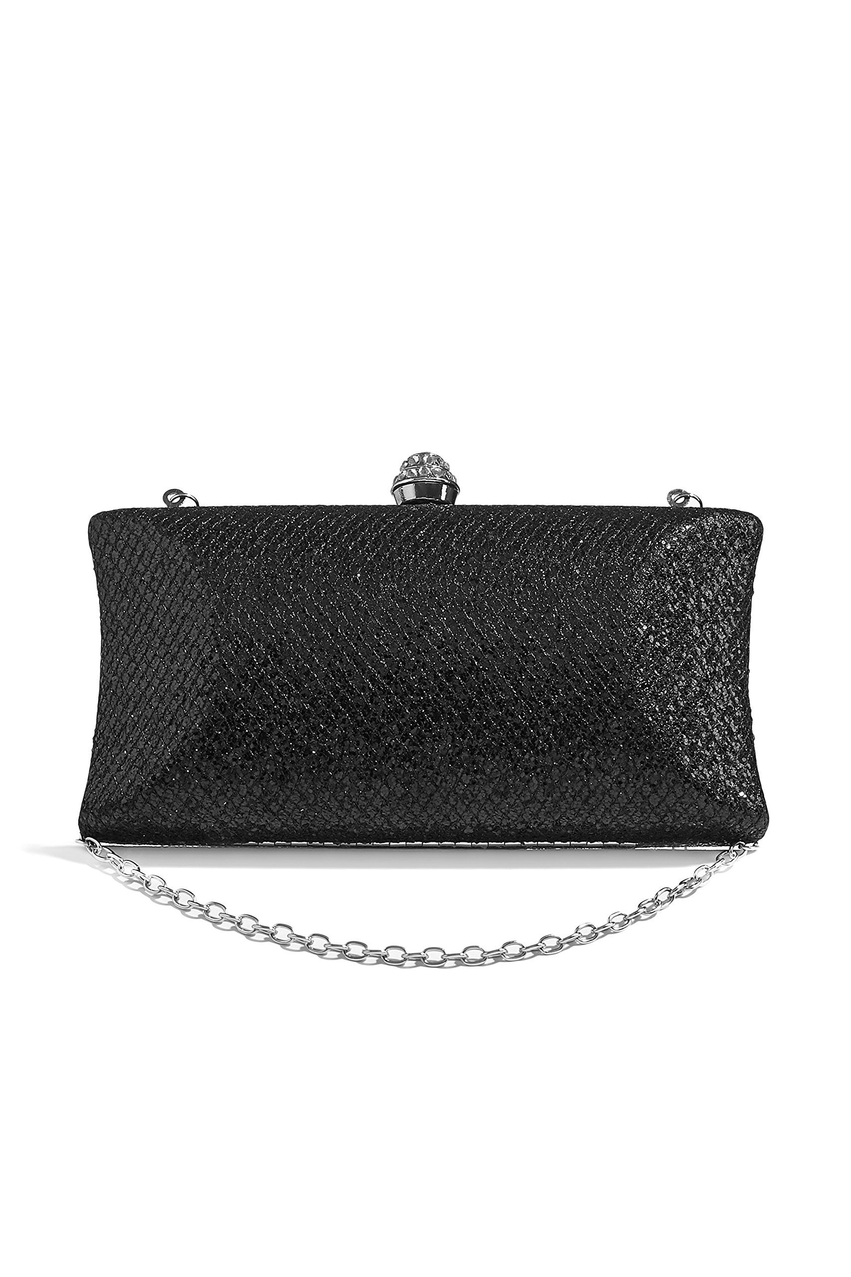 Women Sparkly Clutch Purse Hard Case Evening Bag Sequined Handbag With Chain Strap (black)