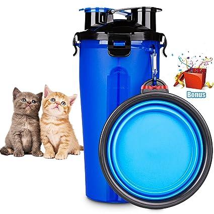 Joso - Botella de agua para mascotas, 2 en 1, con cuencos plegables portátiles