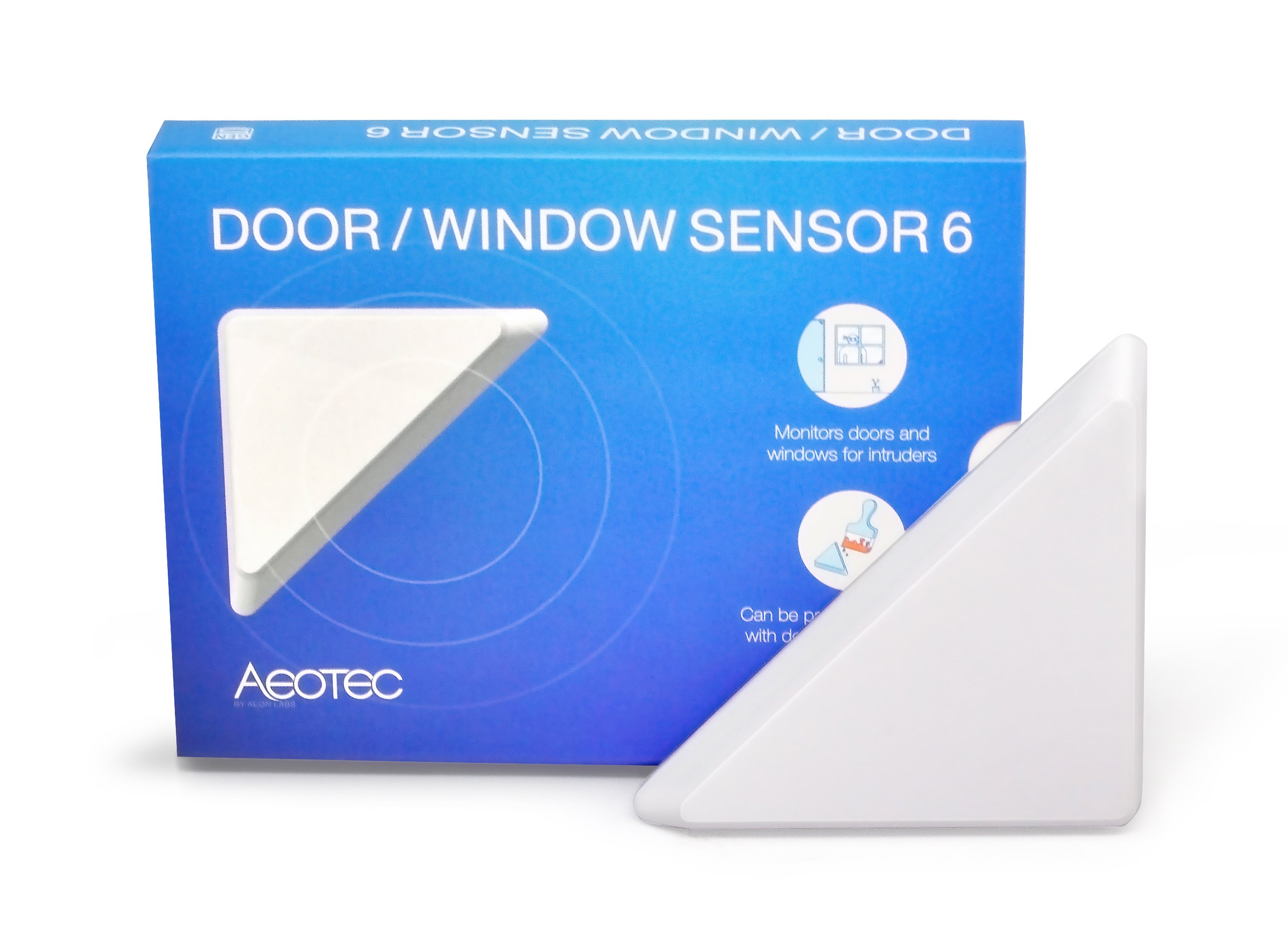 Aeotec Door ​/ ​Window Sensor 6 with Rechargeable Battery, Z-Wave Plus ON/OFF Magnetic Detector for Home Security Protection​ & Automation​, Burglar Alert, Paintable Design