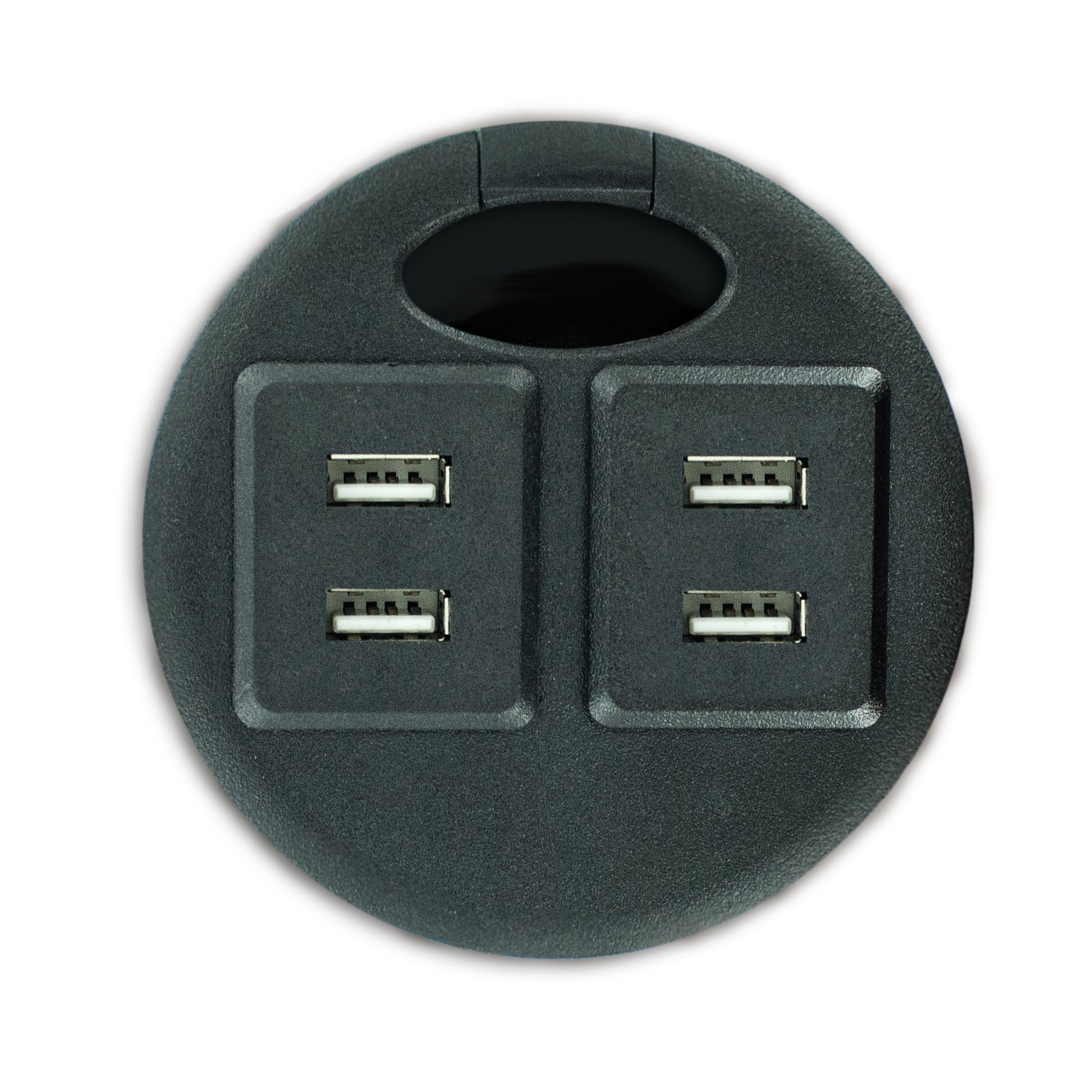 Outwater Industries 120V 4 USB 2.0/ 2A per Port Fast Charging Electrical Grommet Power Center Station/Data Hub PDG-FE-040-BK with 2 3 ft. USB Cables with detachable USB Adaptors