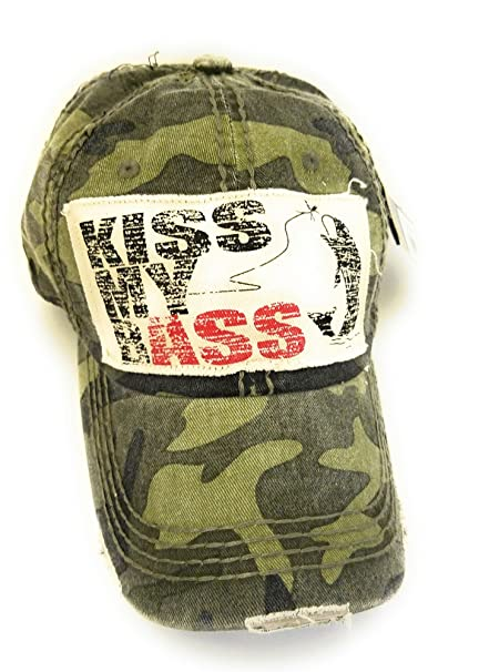 bb3f8e5e9eef3 KB Jp Adjustable Kiss My Bass Fish Fishing Western Vintage Distress Hat  Baseball Cap (Army Camo Green) at Amazon Women s Clothing store