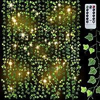 Artificial Plants Ivy Leaf Plants (95 Ft 12 Strands)Vine Hanging Garland with 100 LED String Lights Remote Control…