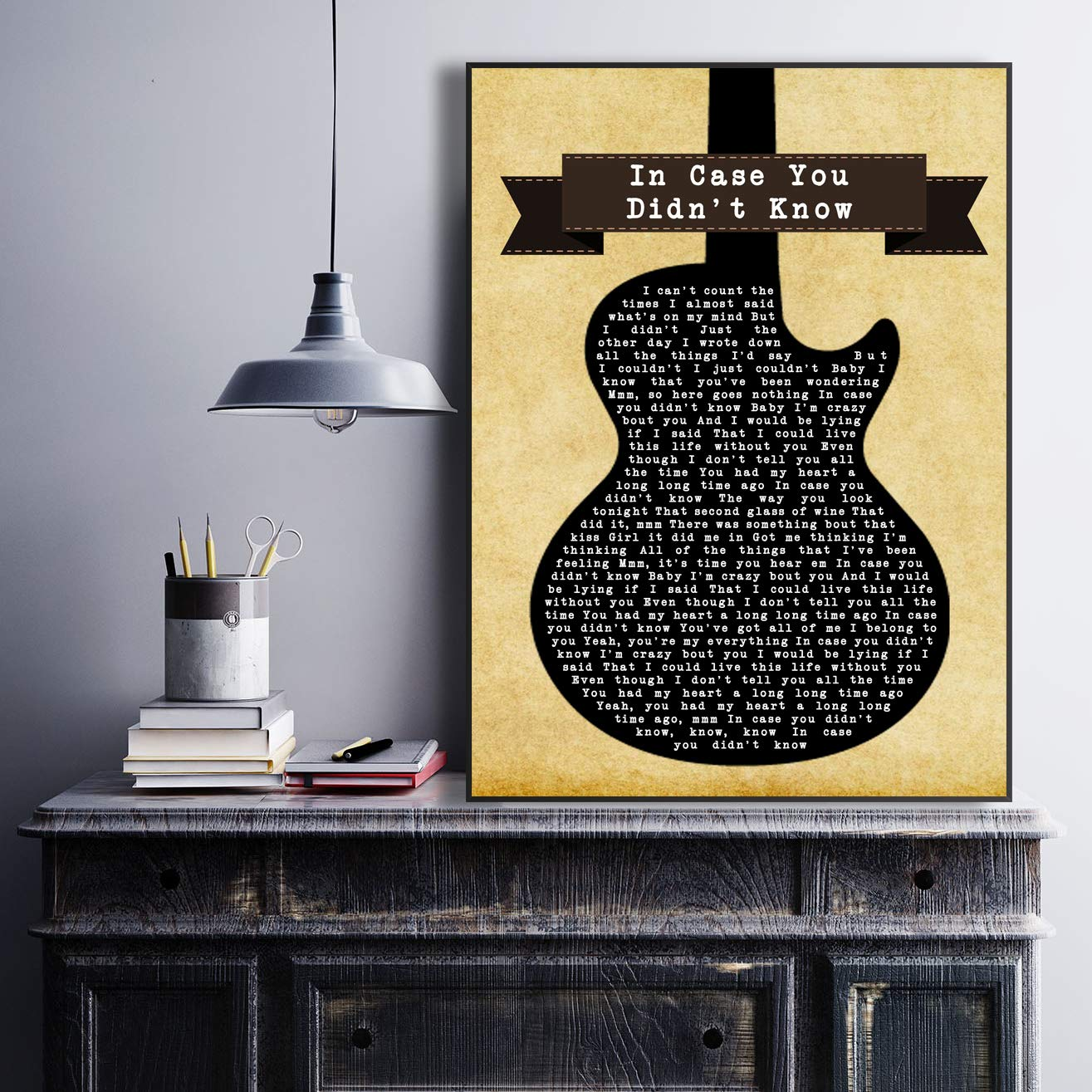 in Case You Didnt Know Black Guitar Song Lyric Art Music Quote Gift Poster Print