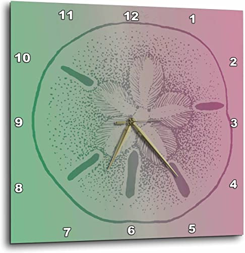 3dRose DPP_123677_2 Pink and Lime Sand Dollar Beach Theme Art Wall Clock, 13 by 13-Inch