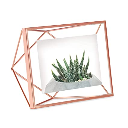Umbra Prisma 4x6 Picture Frame – Floating Wall or Desk Photo Display for Pictures, Art, Illustrations, Graphic Text & More, Metal, Copper