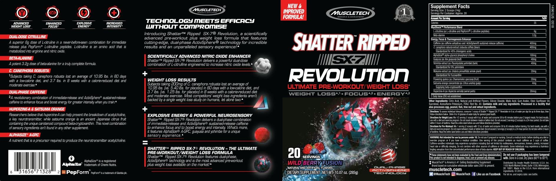 MuscleTech Shatter Ripped SX-7 Revolution - Wild Berry Fusion by MuscleTech (Image #2)