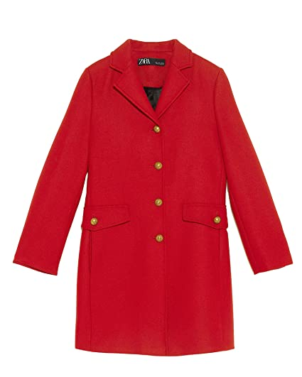 c378ba36 Zara Women's Red Wool Coat 2063/744: Amazon.co.uk: Clothing