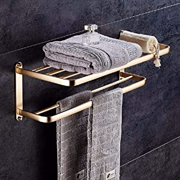 Towel Rack Stainless Steel Bathroom Suitable For Bathrooms And Kitchens Towel Ring Wall Mounted Storage Bathroom Accessories Hook Bathroom Shelf With Gold Fist Towel Rail Amazon Co Uk Diy Tools
