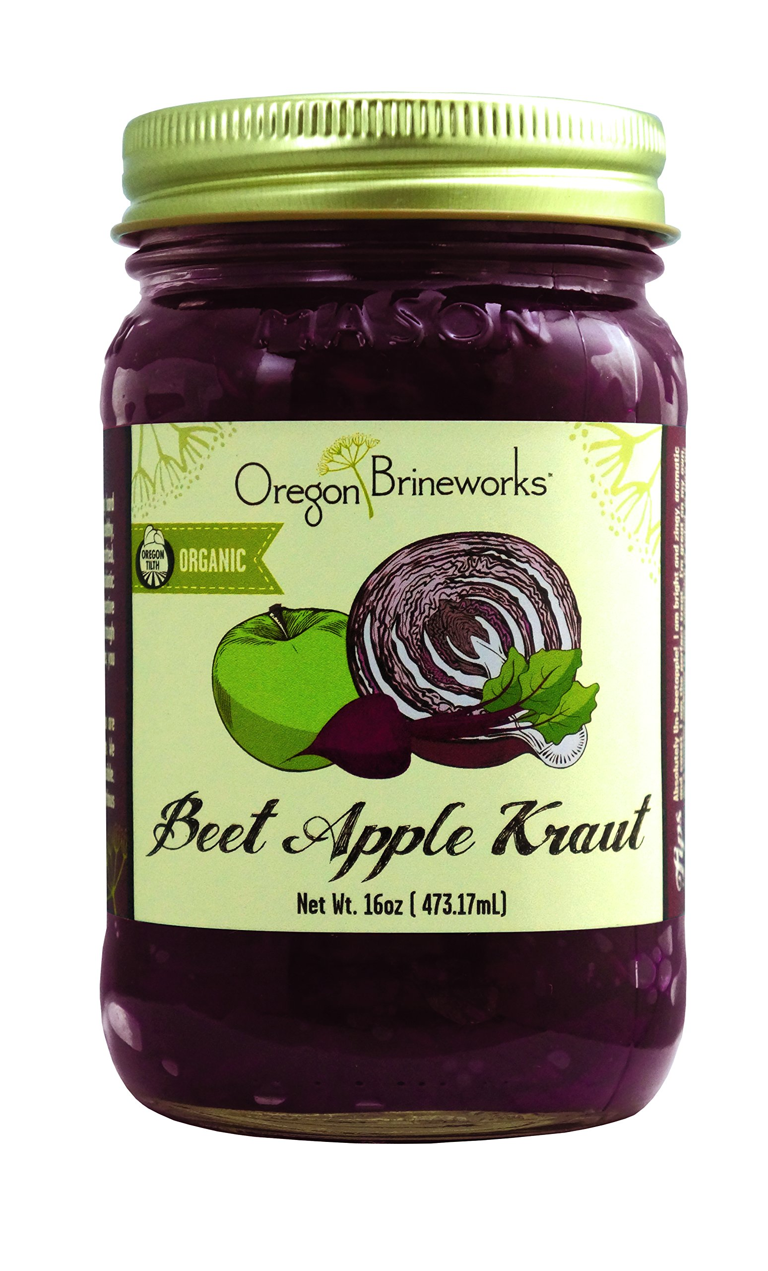 Beet Apple Sauerkraut, Raw, Fermented, Probiotic, Organic, 16 Oz (1 Pack)