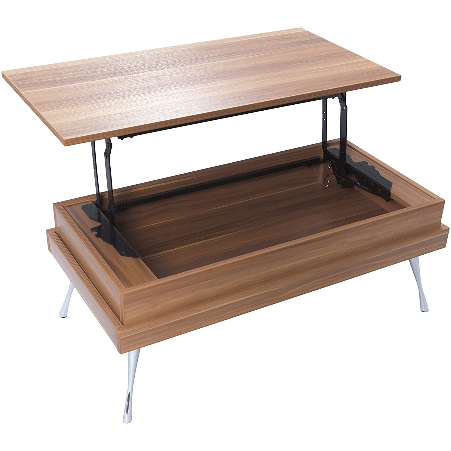 Amazon MIX Laminate Wood Chrome Legs Walnut Lift Top
