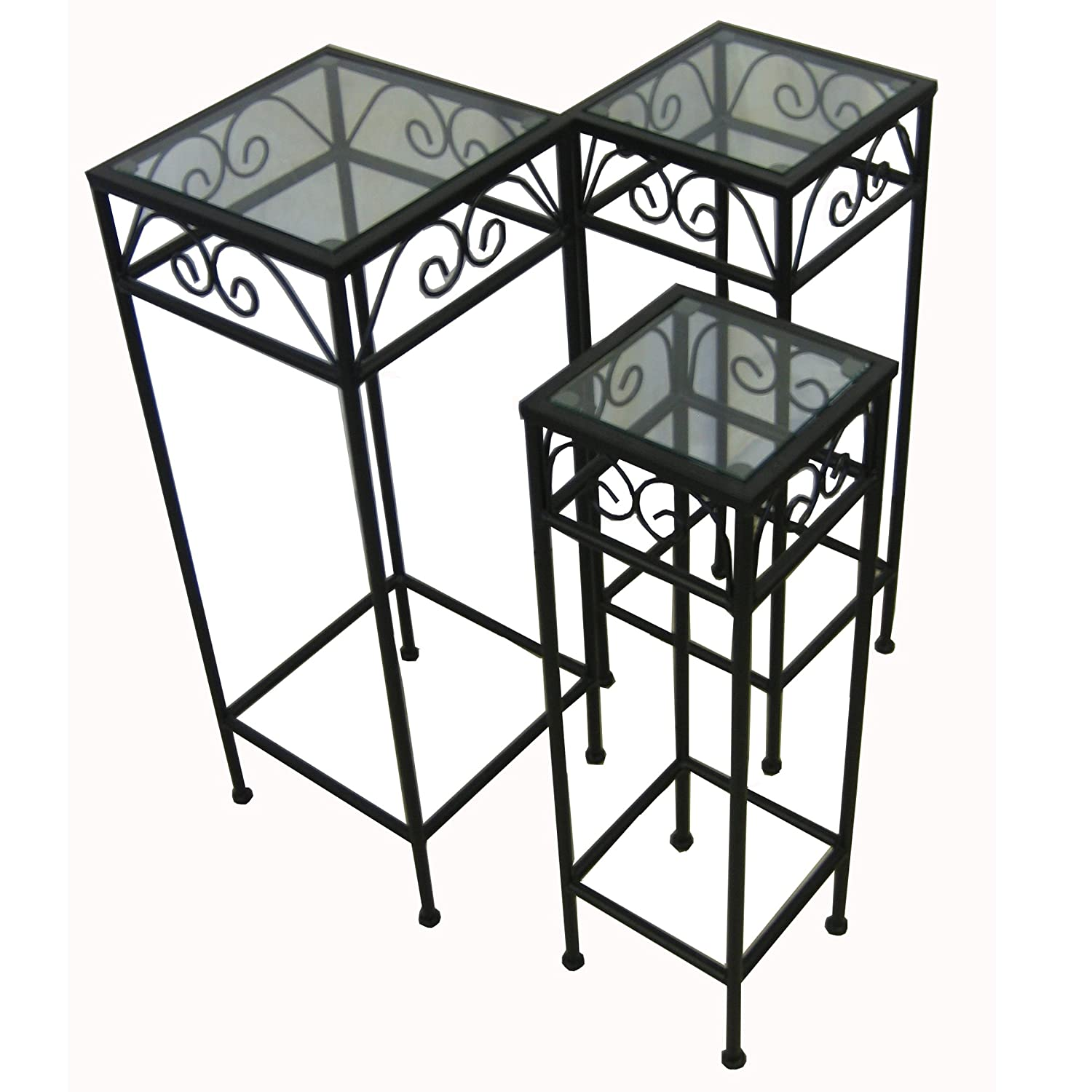 Amazon.com : Nesting Tall Square Tables Set Of Three   Black : Glass Top Nesting  Tables : Garden U0026 Outdoor