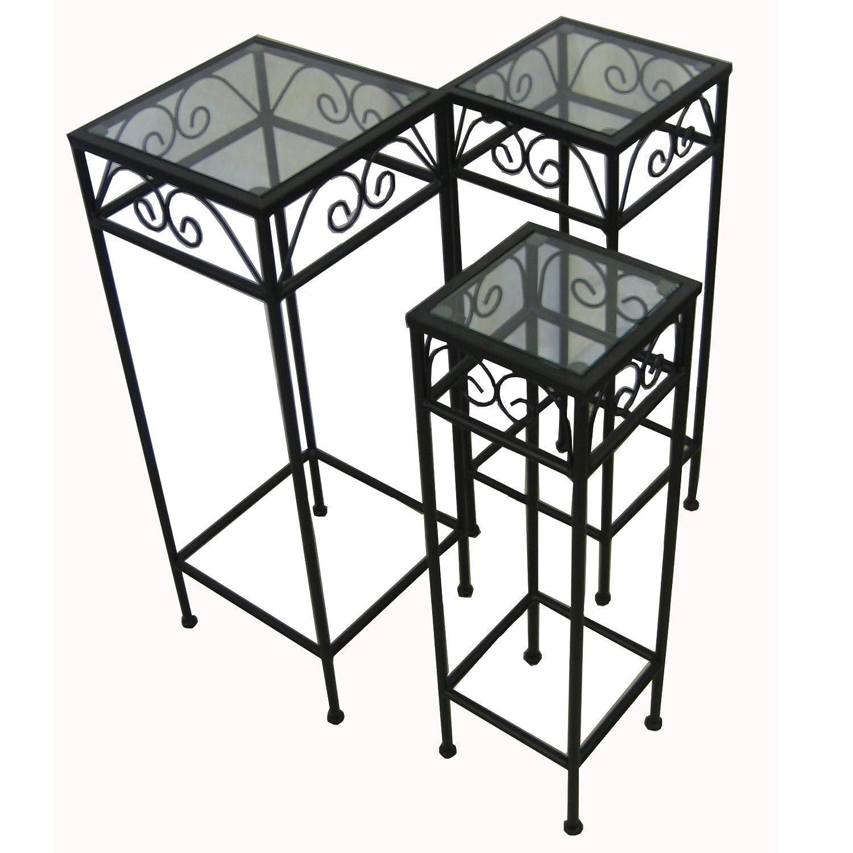Captivating Amazon.com : Nesting Tall Square Tables Set Of Three   Black : Glass Top  Nesting Tables : Patio, Lawn U0026 Garden