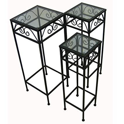 Top Amazon.com : Nesting Tall Square Tables Set of Three - Black  UH45