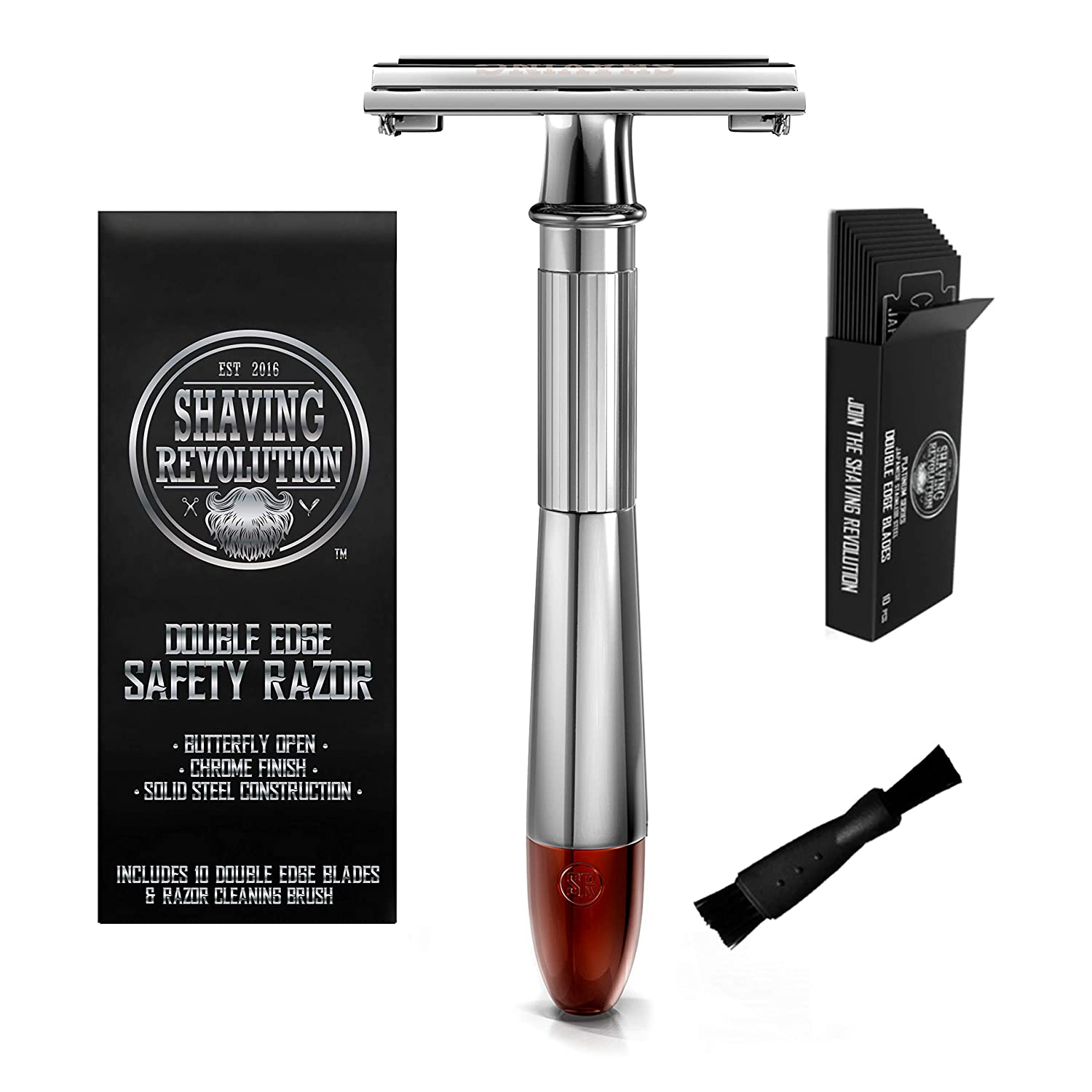 Double Edge Safety Razor - Butterfly Open Razor with 10 Japanese Stainless Steel Blades - Close, Clean Shaving Razor for Men (Silver w/Red Tip)