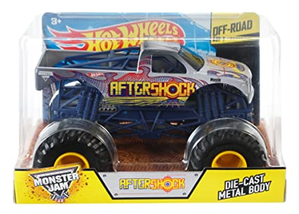Amazon Com Hot Wheels Monster Jam 1 24 Scale Aftershock Vehicle