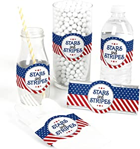 Big Dot of Happiness Red, White and Blue - 4th of July Patriotic Independence Day Party Wrapper Favors - Set of 15