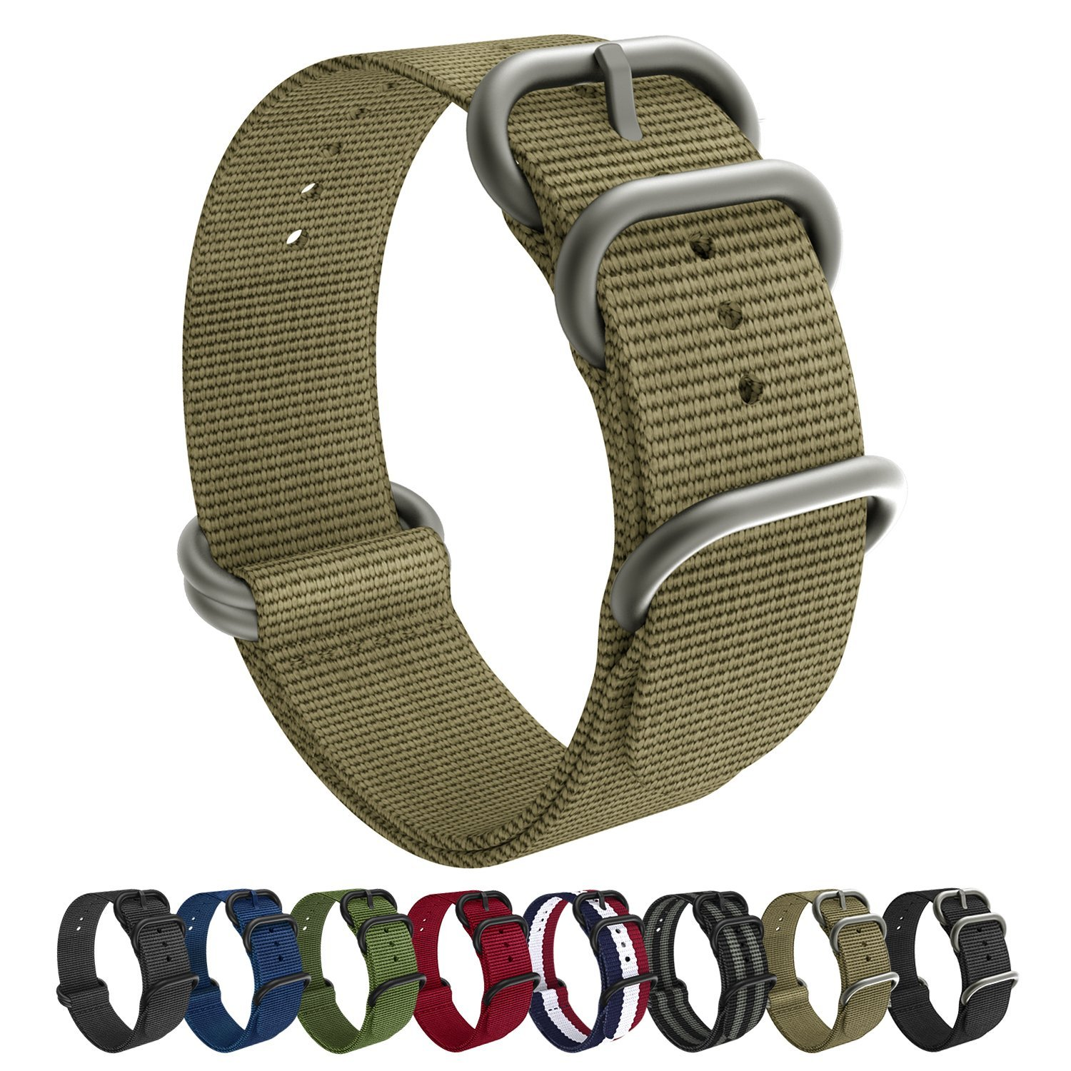 Emibele 20mm Universal Watch Band, Fine Woven Nylon with Stainless ...