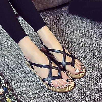 Hemlock Women Bandage Bohemia Sandals Shoes Summer Roman Sandals (US:7.5, Black)