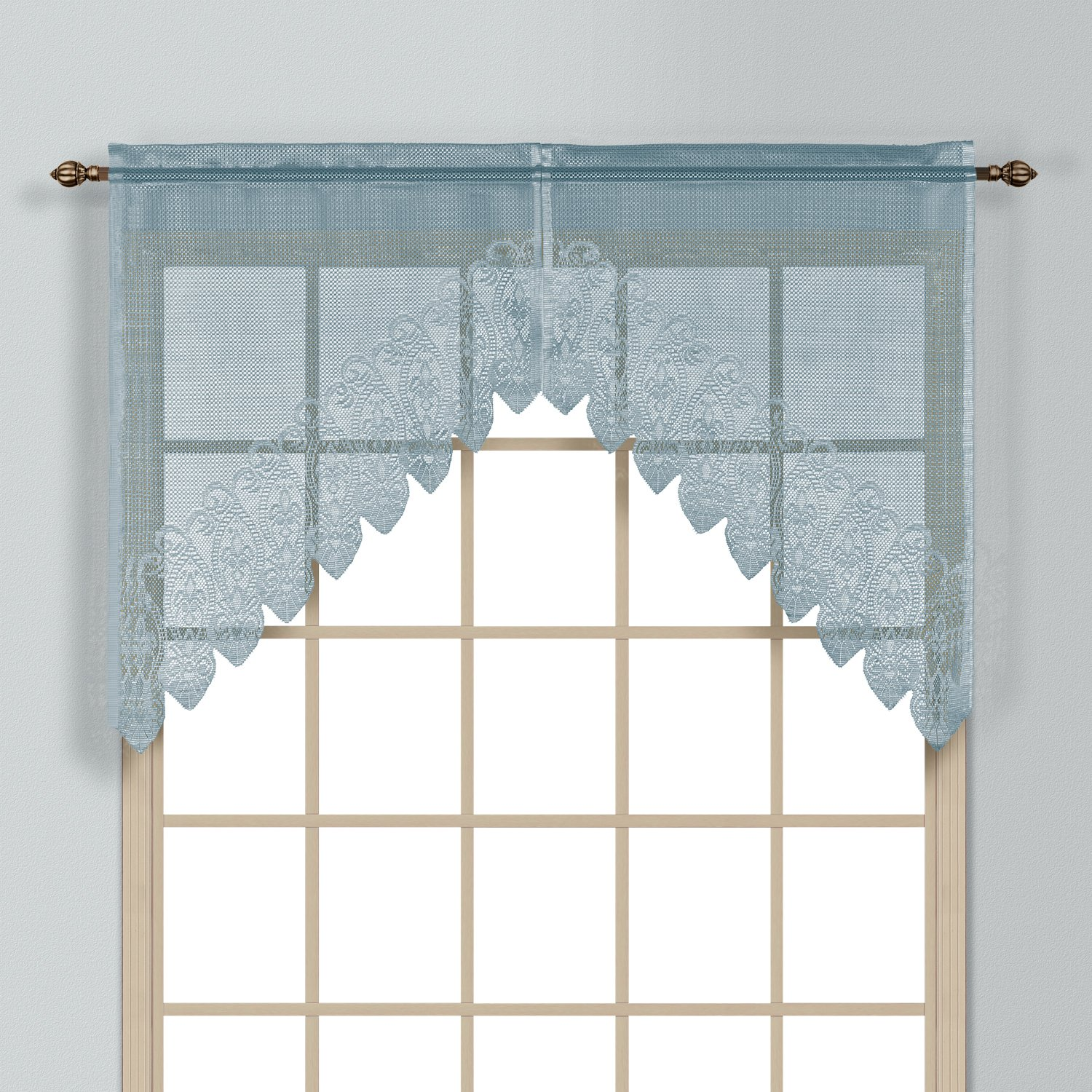 United Curtain Valerie Lace Sheer Swags, 52 by 38-Inch, Blue, Set of 2 VAL38BL