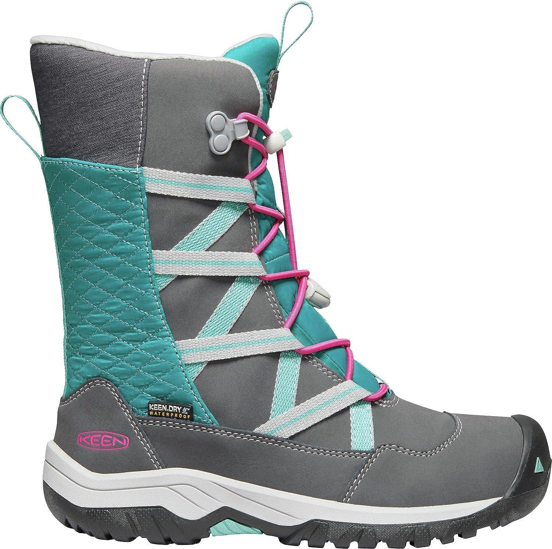 KEEN - Kid's Hoodoo Waterproof, Insulated Snow Boots for Winter, Steel Grey/Cabaret, 2 M US Little Kid Keen Kids 1019818-2