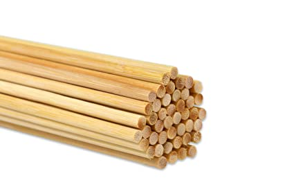 50 Pack Hestya 12 Inch Long Bamboo Dowel Rods Craft Sticks for Craft Projects 1//4 Inch Diameter