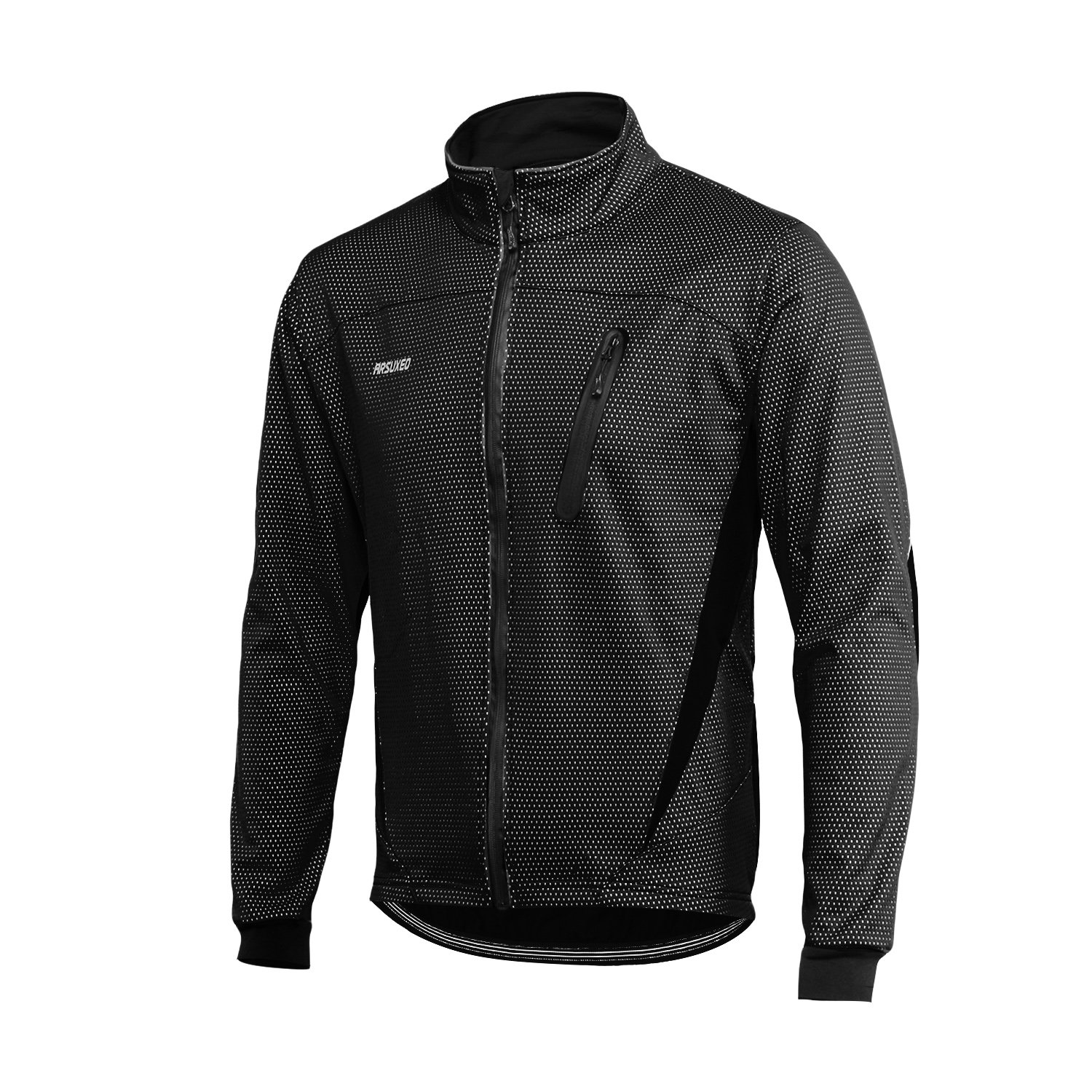 ARSUXEO Winter Warm UP Thermal Fleece Cycling Jacket Windproof Waterproof Breathalbe 16H Black Size Large by ARSUXEO