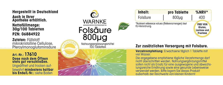 Ácido fólico 800 µg - Productos para la salud Warnke - 100 comprimidos - 100% vegano - 1 pack x 30g: Amazon.es: Salud y cuidado personal
