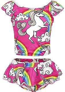 937478b924a20 AmzBarley Girls Unicorn Two-Pieces Bikini Set Swimwear Swimsuit Kids  Rainbow Tankini Beach Bathing Suit