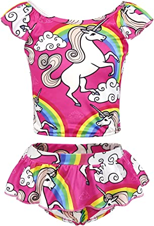 AmzBarley Unicorn Swimming Costume Swimsuit Girls Kids Two Piece Swimwear Children Off Shoulder Unicorns Swim Suit Beach Wear Pool Holiday Swimming Outfit Skirt Set
