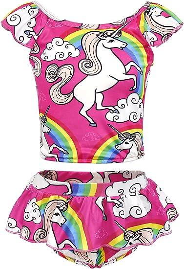 Girls Baby Kids Pink Swimsuit Tankini Bikini Swimming Costume Bathing Suit Beach