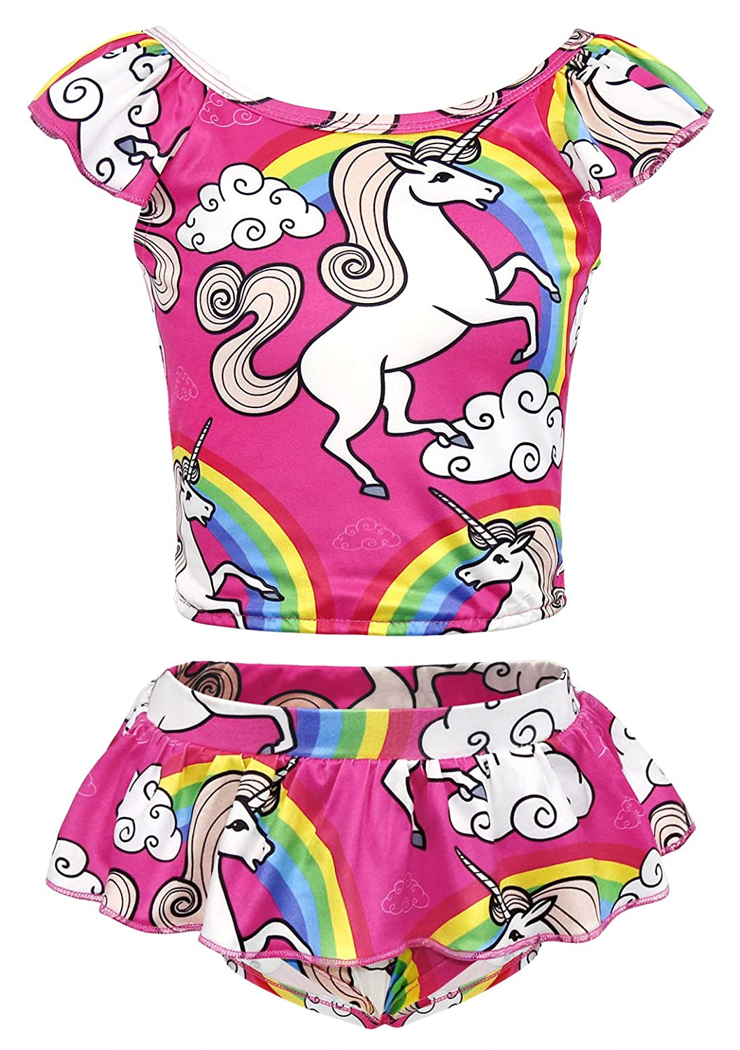 42da5abe5fbc9 Amazon.com: AmzBarley Girls Unicorn Two-Pieces Bikini Set Swimwear Swimsuit  Kids Rainbow Tankini Beach Bathing Suit 2-8 Years: Clothing