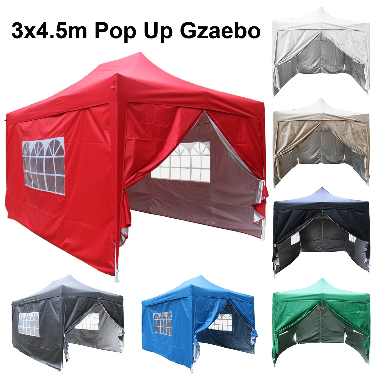 Beige 4 x Side Panels and Carry Case Greenbay 3m x 3m Pop-Up Garden Pop Up Gazebo with 4 x Weight-Bags Choice of Colours
