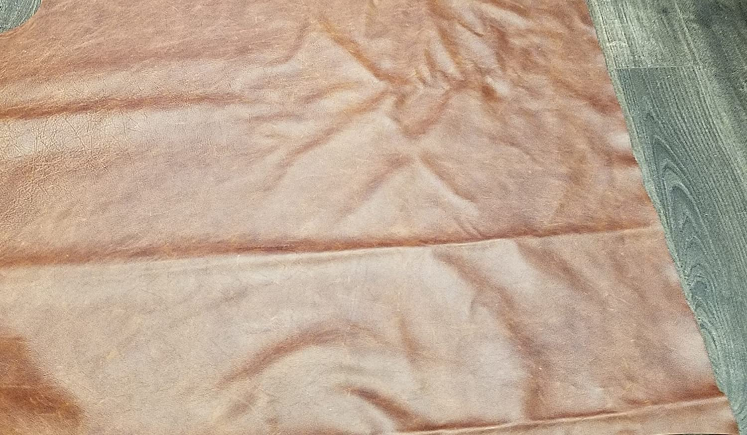 12x12 NAT Leathers Brown Cognac Weekender Two Tone Soft Upholstery Chap Cowhide Genuine Leather Hide Skin 1 Square Feet