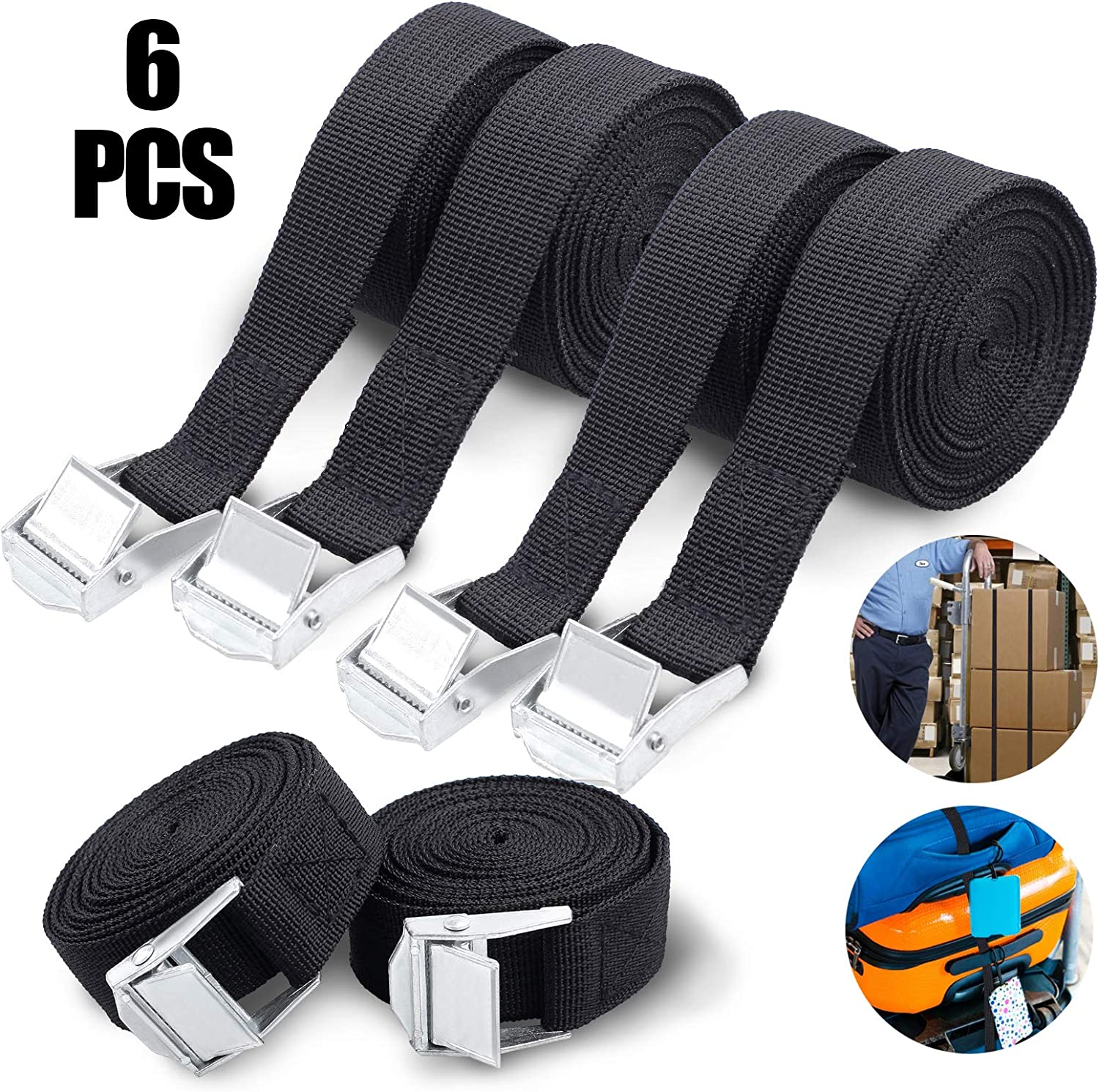 for Motorcycle Trailer Truck Cargo SOOKIN Tie Down Straps 6PCS Lashing Straps Tensioning Belts Ratchet Straps Cargo Straps Tension Straps Adjustable with Clamp Lock