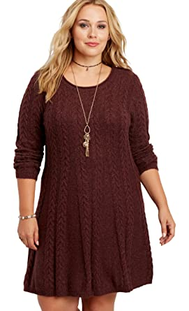 maurices Women's Plus Size Soft Cable Knit Sweater Dress at Amazon ...