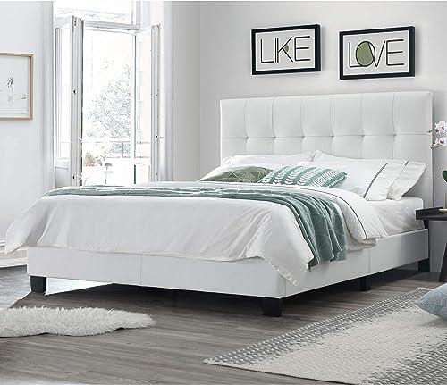DG Casa Bianca Tufted Upholstered Platform Bed Frame