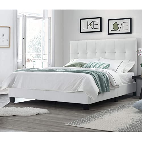 DG Casa Bianca Tufted Upholstered Platform Bed Frame, Queen Size in White Faux Leather