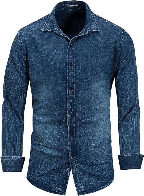 IYFBXl Camisa Vaquera de algodón de Manga Larga para Hombre Camisa Militar nostálgica FM163, Azul Marino, M: Amazon.es: Deportes y aire libre