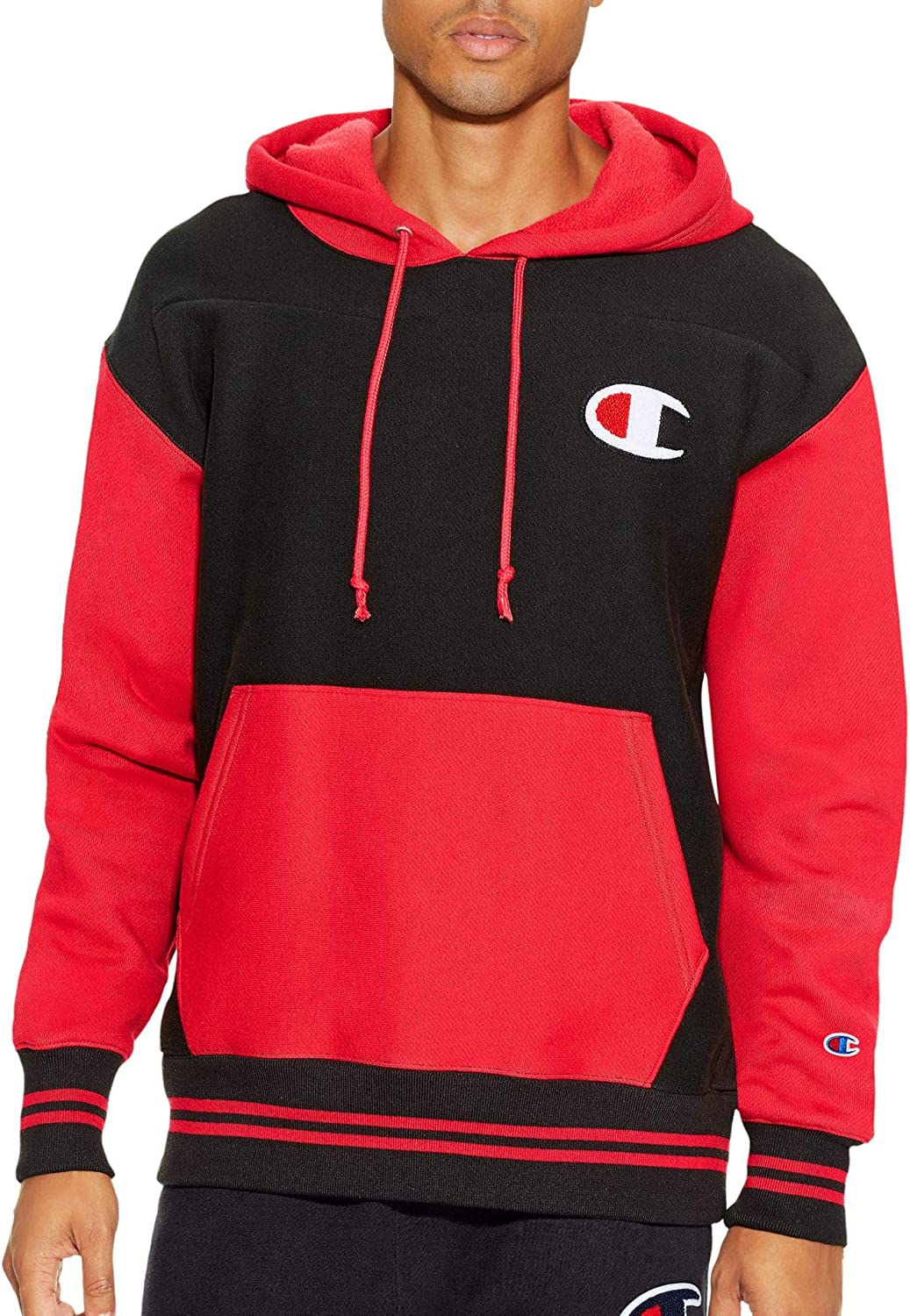 Champion Men's Life Reverse Weave Color Block Pullover Hoodie, Black/Team Red Scarlet, L: Clothing